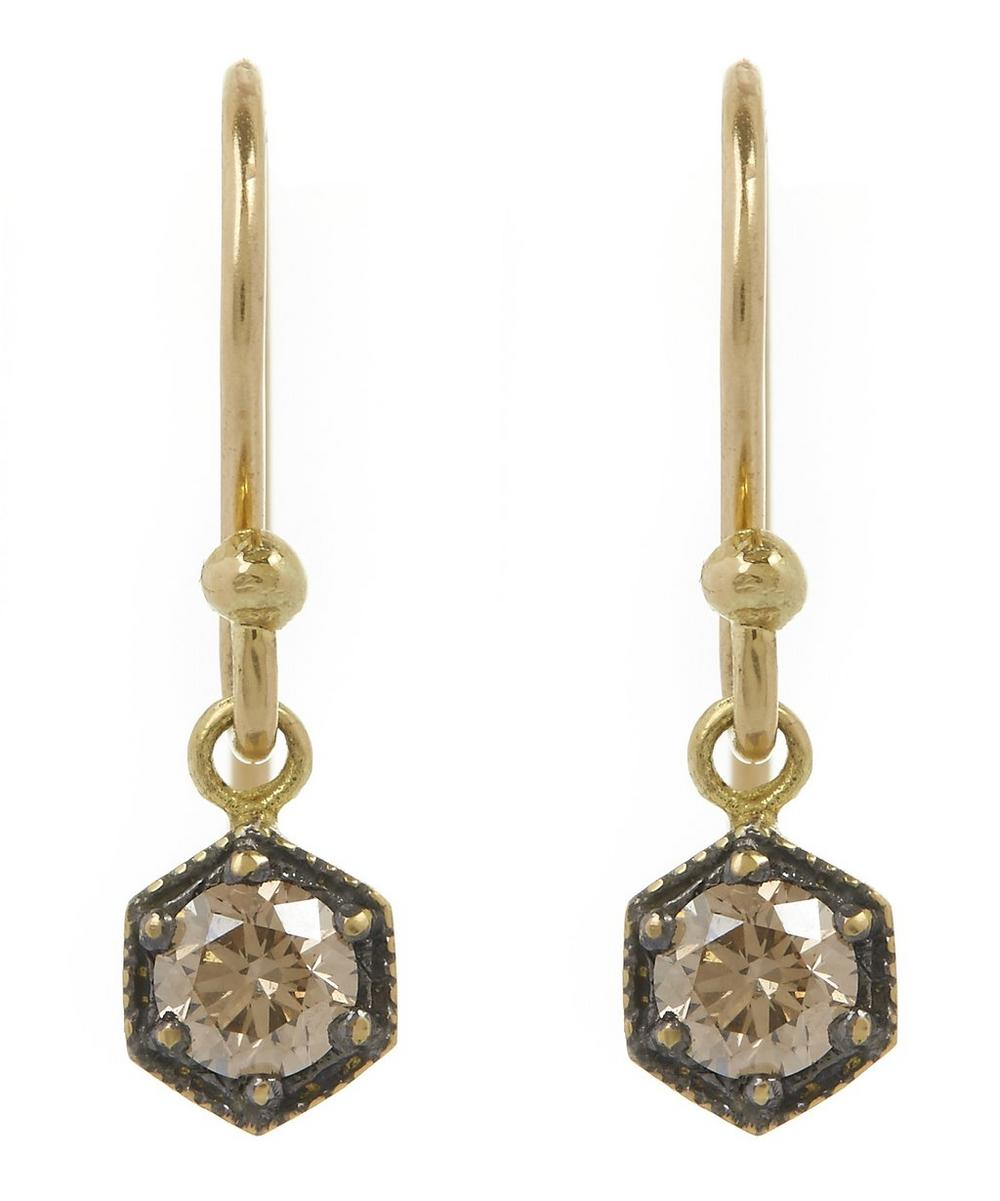 Twin Brown Diamond Wire Earrings
