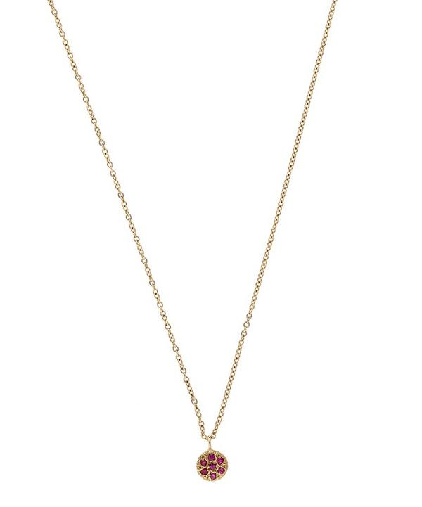 Gold Ruby Disc Necklace