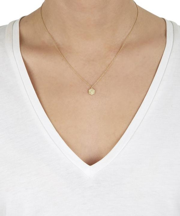 Large Gold Milgrain Hexagonal Charm Diamond Necklace