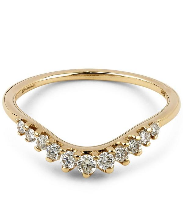 Gold Tiara White Diamond Curve Ring