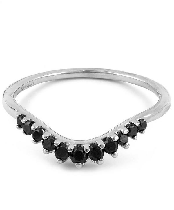 White Gold Tiara Curve Black Diamond Ring