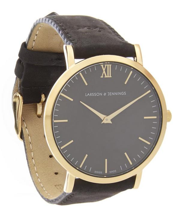 Gold-Plated Lader Leather Strap Watch