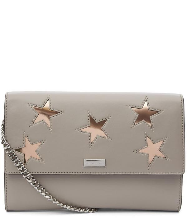 Nappa Leather Lamé Stars Clutch Bag