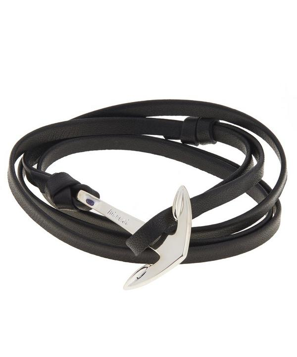 Polished Anchor Leather Bracelet