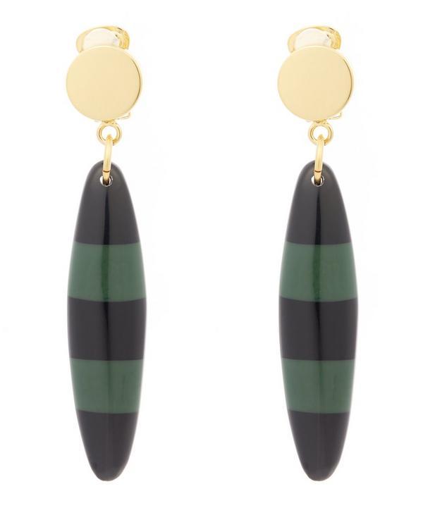 Resin Stripe Drop Clip-On Earrings
