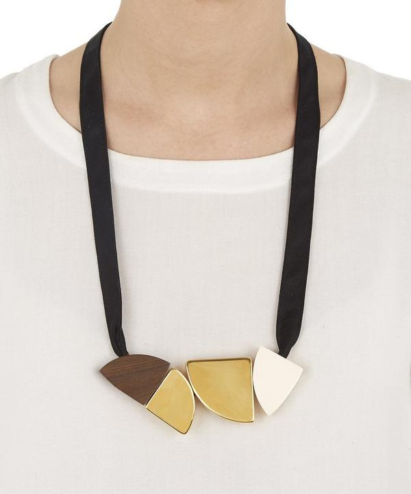 Wooden Shapes and Fabric Necklace