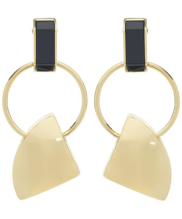 Gold-Tone Ring Drop Geometric Clip-On Earrings
