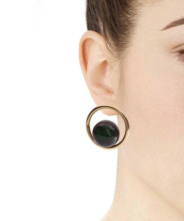 Gold Sphere and Resin Earrings