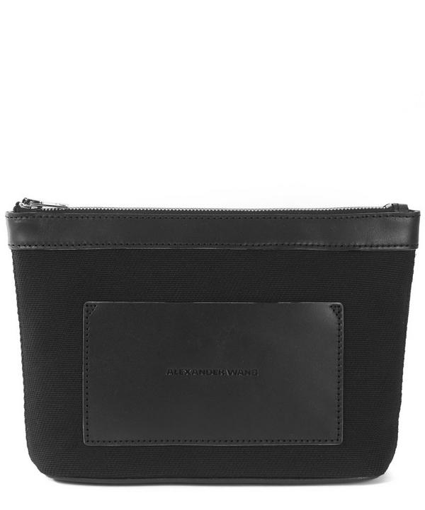 Canvas Leather-Trimmed Zip Pouch