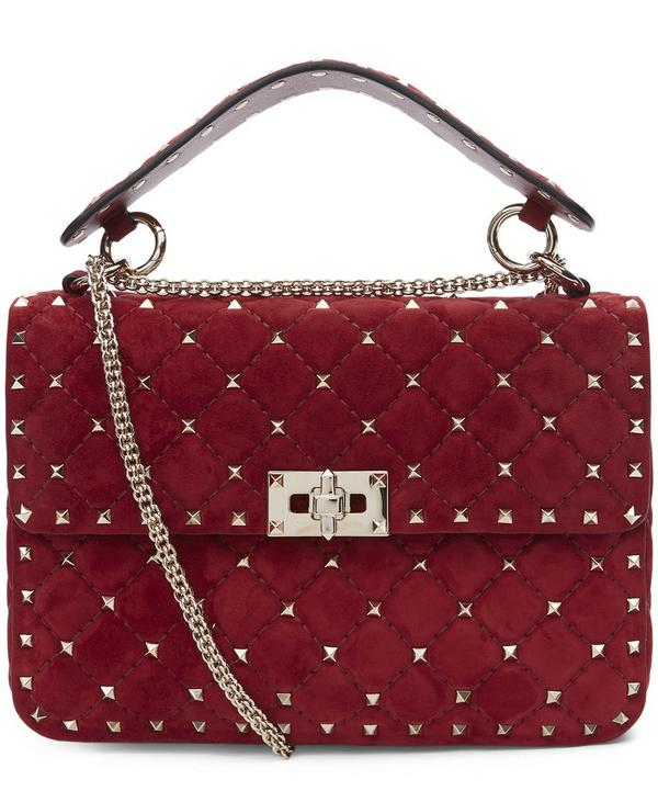 Rockstud Quilted Suede Shoulder Bag