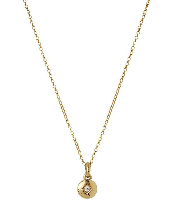 Miniature Gold Diamond Charm Pendant Necklace