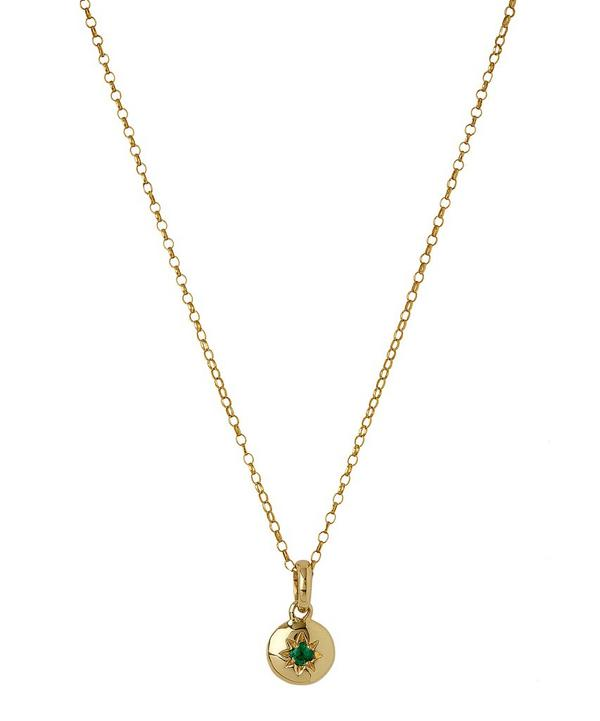 Medium Gold Starburst Emerald Charm Pendant Necklace