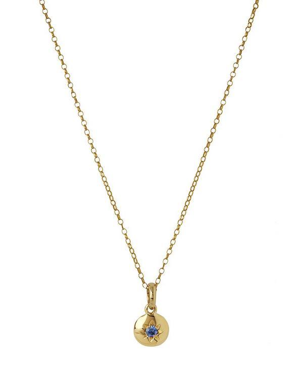Medium Starburst Sapphire Charm Pendant Necklace