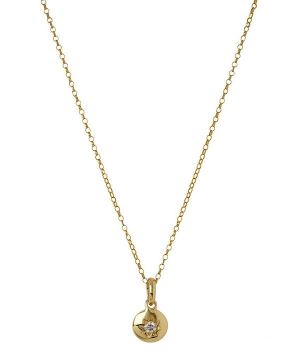 Medium Gold Starburst Diamond Charm Pendant Necklace