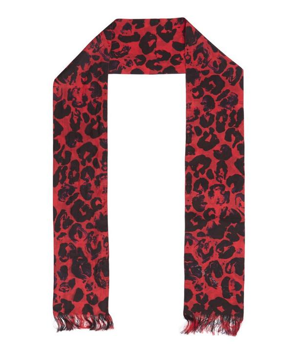 Trixie Skinny Leopard Print Silk Scarf