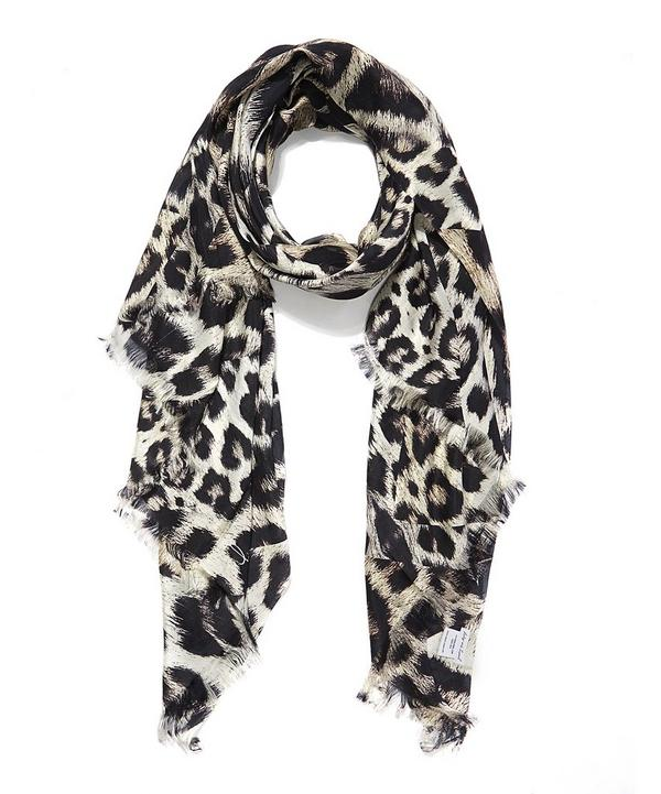 Kitty Leopard Print Silk Shawl