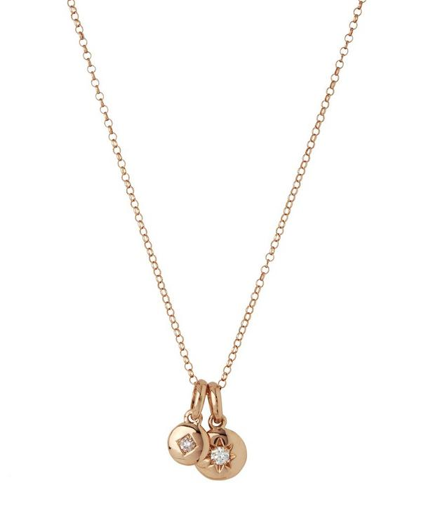 Medium Rose Gold Starburst Diamond Charms Pendant Necklace