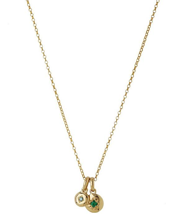 Medium Gold Starburst Emerald Charm and Mini Blue Diamond Charm Pendant Necklace