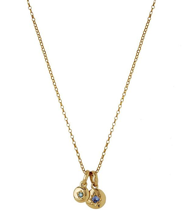 Medium Gold Starburst Blue Sapphire Charm and Mini Blue Diamond Charm Pendant Necklace