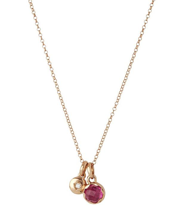 Small Rose Gold Fluted Orb Charm and Mini Diamond Charm Pendant Necklace