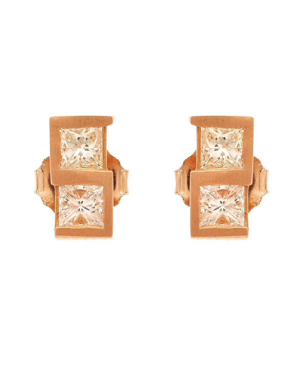 Rose Gold Greek Key Diamond Stud Earrings