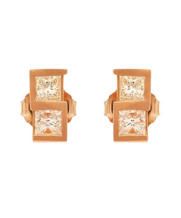 Rose Gold Greek Key Diamond Stud Earrings