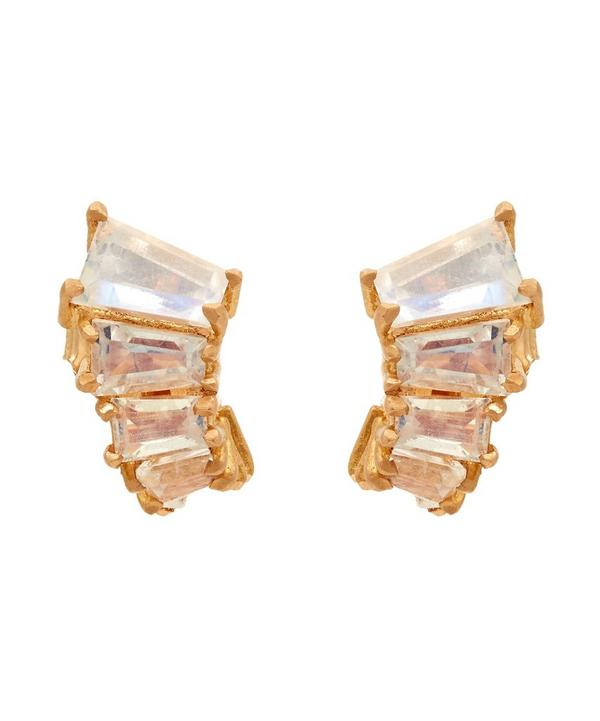 Rose Gold Rainbow Moonstone Ear Jacket Earrings