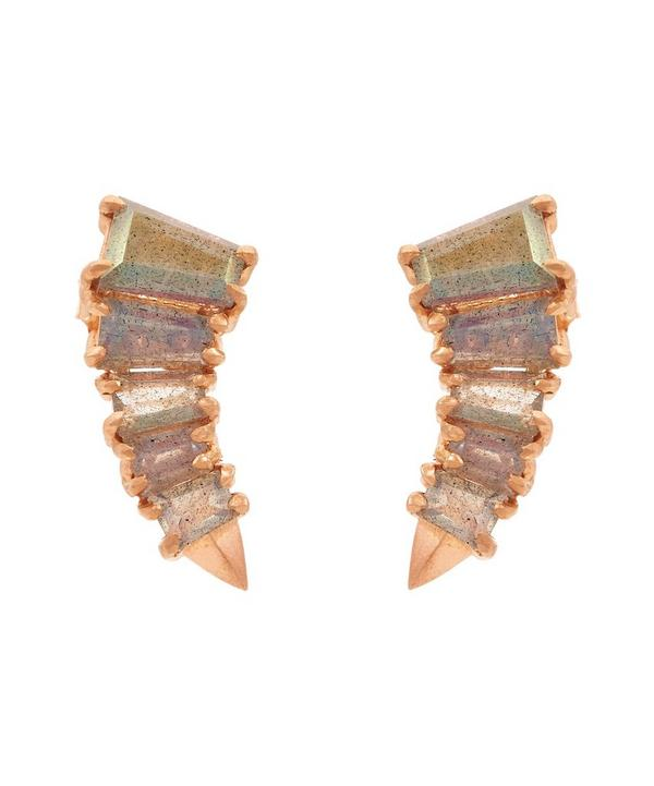 Rose Gold Curved Labradorite Stud Earrings