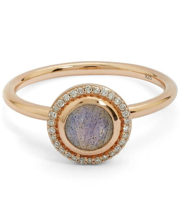 Exclusive Rose Gold Labradorite Halo Ring