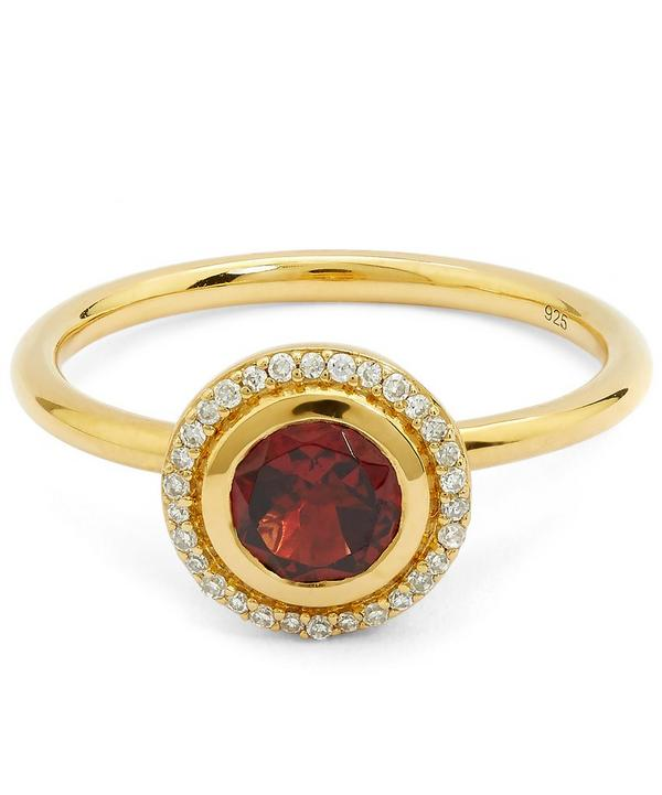Exclusive Gold Garnet Halo Ring