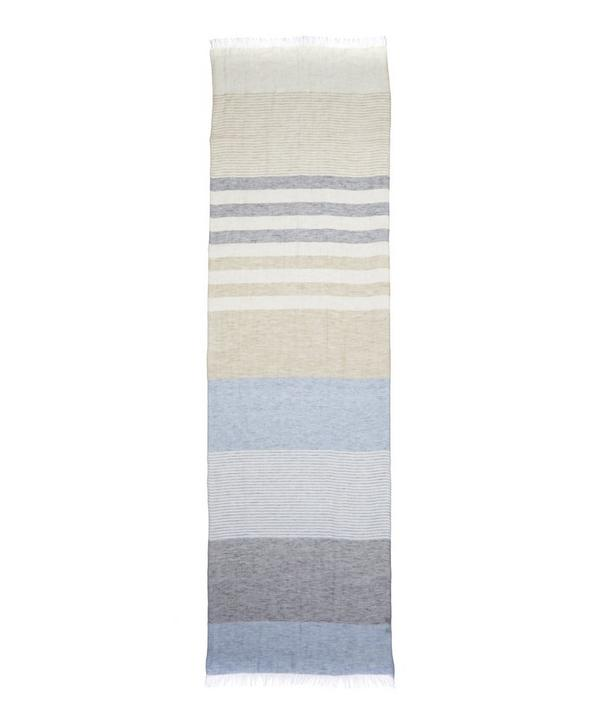 Check and Stripe Linen Scarf