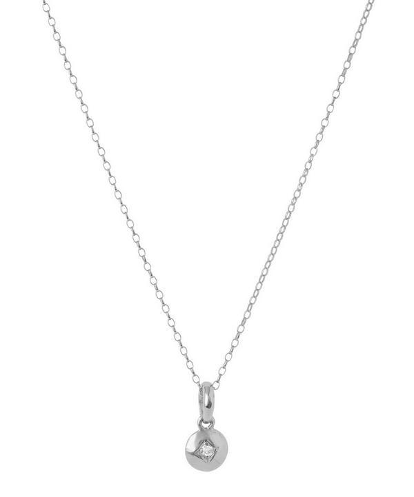 Silver Miniature Diamond Charm Pendant