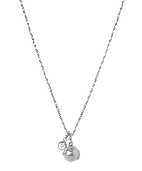 Small Silver My World Locket and Mini Diamond Charm Pendant Necklace