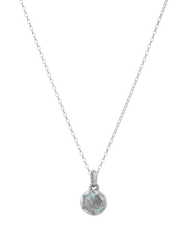 Large Silver Fluted Orb Sky Blue Topaz Charm Pendant Necklace