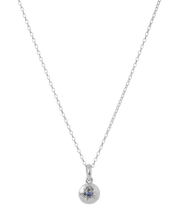 Silver Medium Sapphire Charm Pendant Necklace
