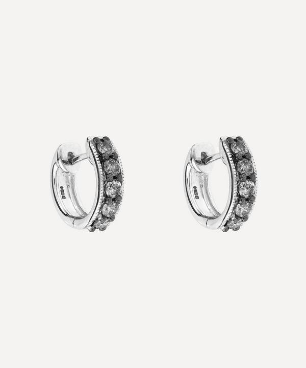 White Gold Grey Pave Dusty Diamond Hoop Earrings