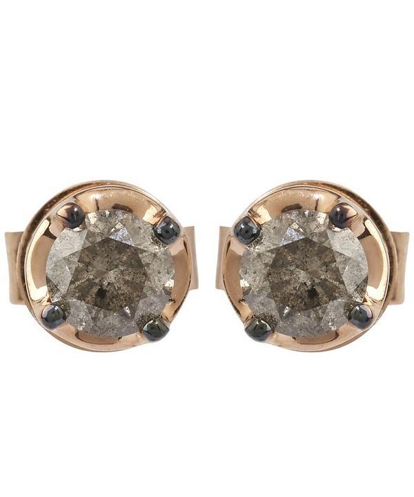 Dusty Diamond Rose Gold Stud Earrings