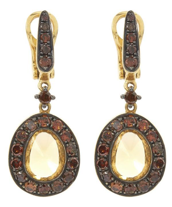 Dusty Diamond Citrine Drop Earrings