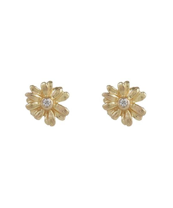 Teeny Tiny Gold Daisy Diamond Stud Earrings