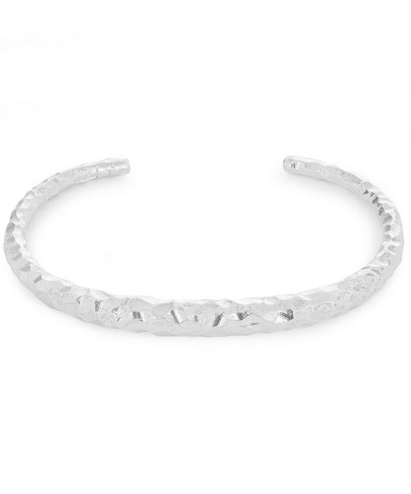 Silver Fat Snake Carved Bracelet