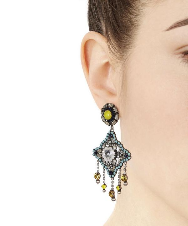 Oxidised Silver-Plated Roland Multi-Stone Drop Earrings