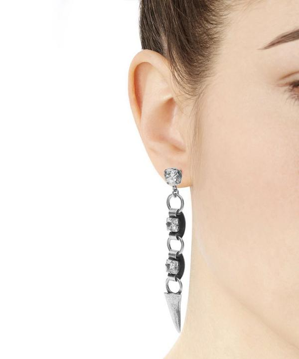 Silver Ohana Long Drop Crystal Earrings