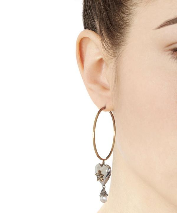 Heart and Pearl Locket Hoop Earrings