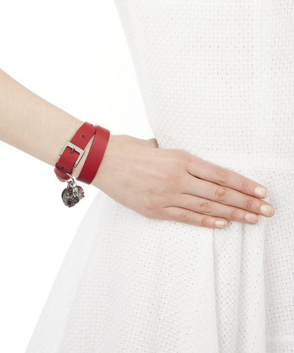Multi-Charm Leather Cuff