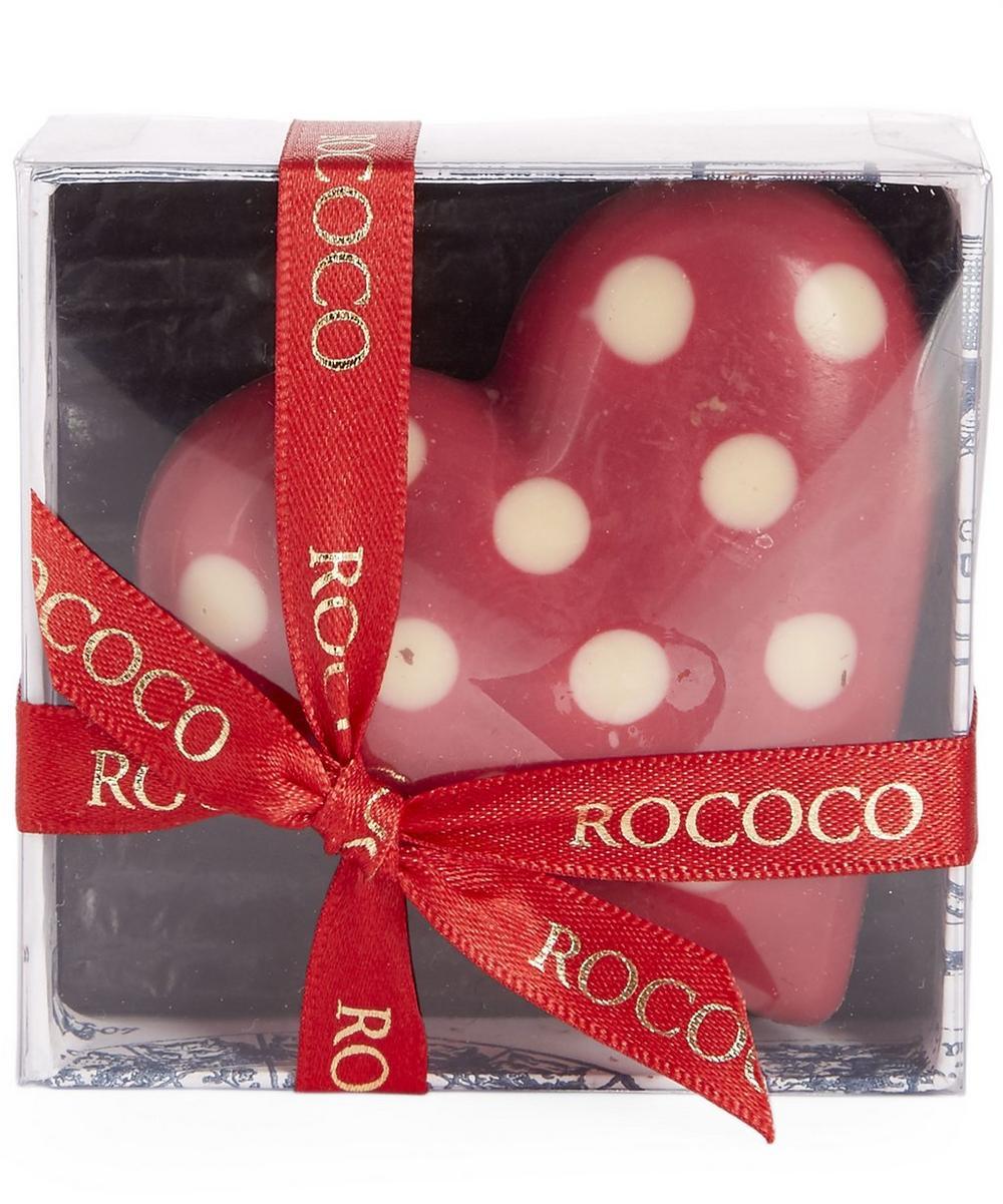Hand Painted Polka Dot Heart Chocolate Box 60g | Liberty London