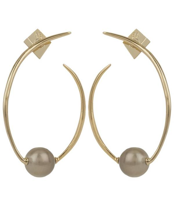 Gold Coiled Pearl Post Earrings