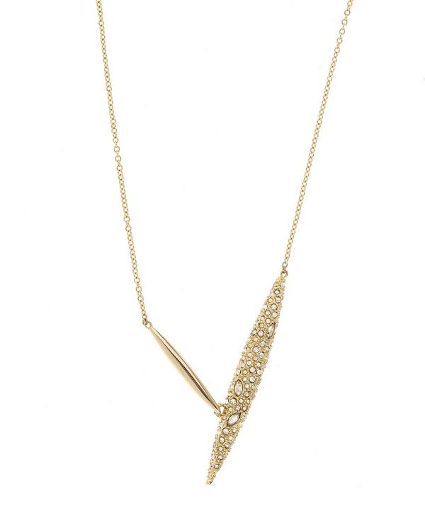 Gold Modernist Spear Pendant Necklace