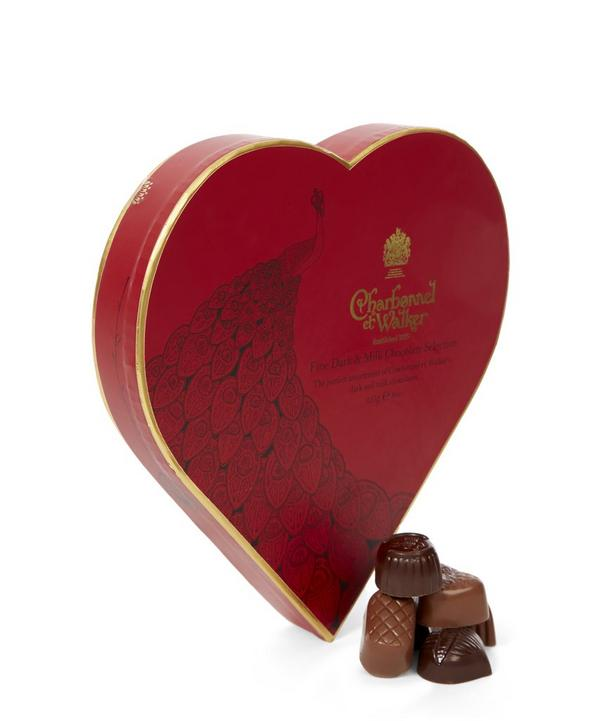 Peacock Fine Milk and Dark Chocolate Red Heart 255g