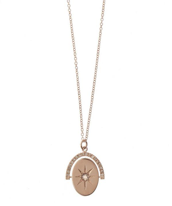 Rose Gold Spinning Star Pendant Brown Diamond Necklace