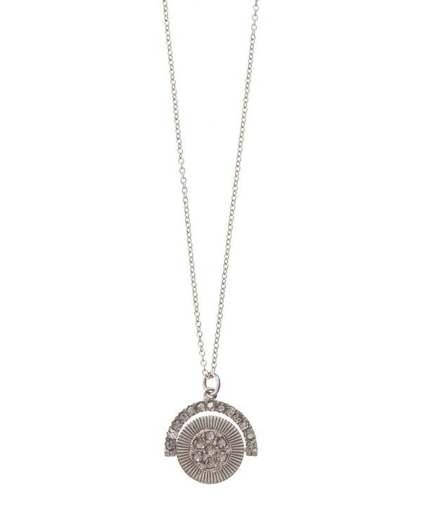 White Gold and Diamond Spinning Pendant Necklace